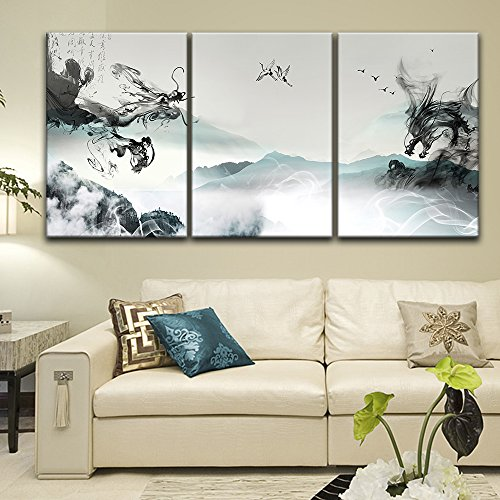 "wall26-3 Panel Canvas Wall Art - Chinese Ink Painting Style Landscape with Dragon-Like Ink Splash - Giclee Print Gallery Wrap Modern Home Decor Ready to Hang - 16""x24"" x 3 Panels"
