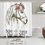 KISSENSU Cortinas con Ganchos,Animal Boho Horse Head Sketch con Flores Plumas Coloridas Espíritu Gitano,Cortina de Ducha Alfombra de baño Bañera Accesorios Baño Moderno