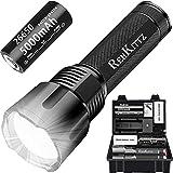 REHKITTZ Led Taschenlampe 3300 Lumen Extrem Hell(mit 5000mAh 26650 Akku)Lange Arbeitzeit Taschenlampe Led Zoom Taschenlampen Aluminiumlegierung Flashlight Kompatibel mit Vielen Batterietypen