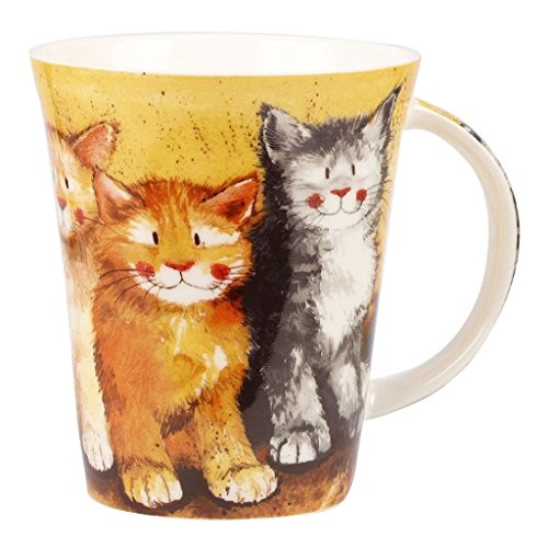 Alex Clark - Taza de cerámica con diseño de Gatos, Multicolor, 9,5 x 9,5 x 11,5 cm