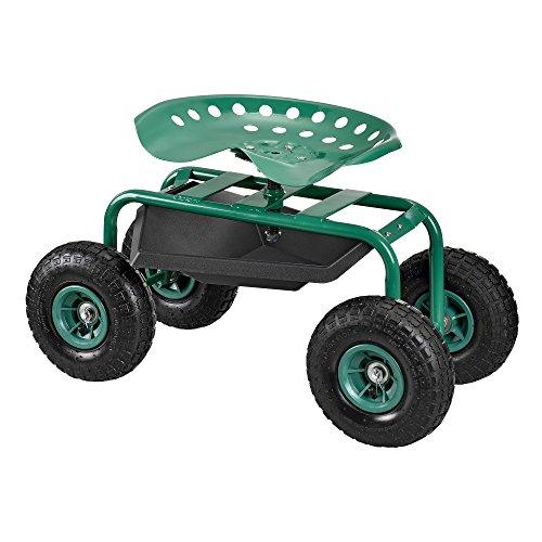 [pro.tec] Asiento móvil para trabajar en jardín scooter [verde] carrito con ruedas para jardín roll altura regulable
