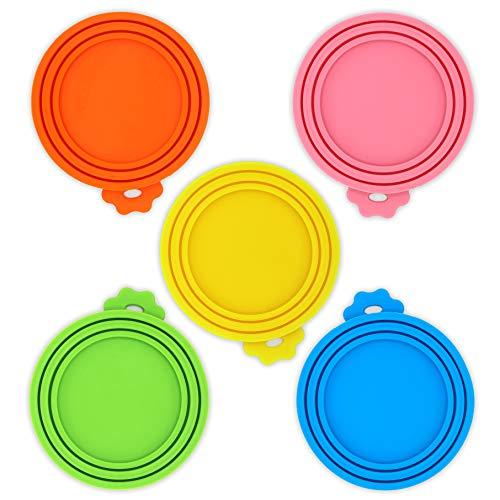 Annwuyu - Juego de 5 tapas para alimentos para mascotas, silicona suave, para perros y gatos, ajuste universal, 3 tamaños estándar, sin BPA, apto para lavavajillas, fácil de limpiar