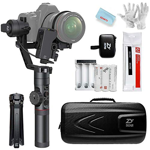 Zhiyun Crane 2 3-Axis Handheld Gimbal Stabilizer (with Free Servo Follow Focus) for Sony Canon Nikon DSLR Camera Weighing 1.1lb to 7lb,18 Hours Runtime 1 Min Toolless Balance Adjustment OLED Display
