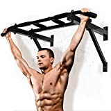 Wall Mounted Chin Up Bar Professional Indoor Gymnastics Bar Home Fitness Equipment Multi Grip Pull Up Bar with 6 Non-Slip Handles (Black)