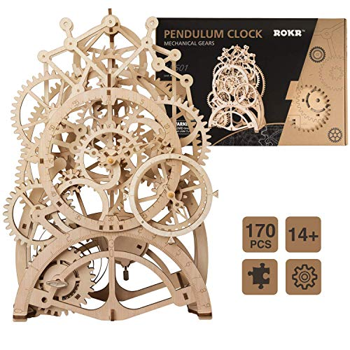 ROKR 振り子時計 電池不要 立体パズル 置時計 木製おもちゃ 木製パズル 機械モデル 手作り 男の子 誕生日 プレゼント ギフト 贈り物 こどもの日 格好いい