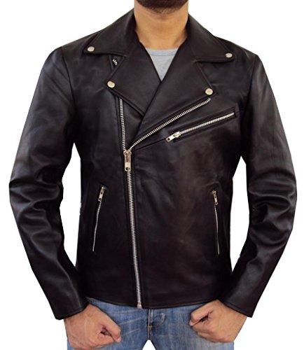 The Leather Factory Men's Lambskin Leather Biker Jacket Inspired from Brando M Black