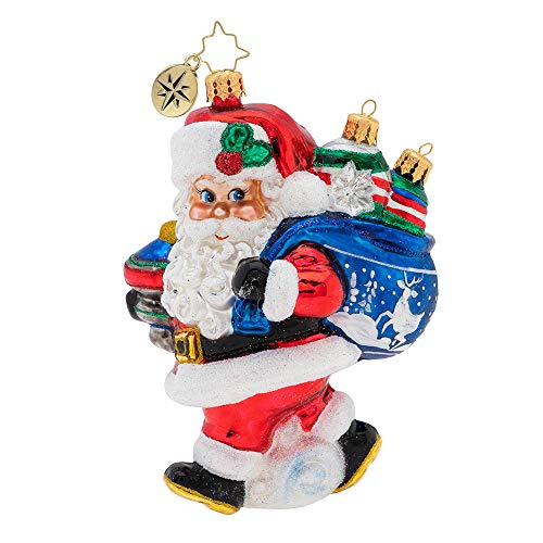 Christopher Radko Hand-Crafted European Glass Christmas Decorative Figural Ornament, Santa's Shiny Brite Collection!