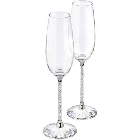 Amazon Com Oleg Cassini Crystal Diamond Toasting Flutes Set Of 2 Champagne Glasses