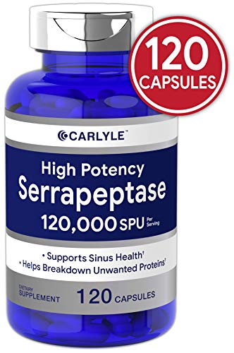 Serrapeptase 120000 SPU | 120 Capsules | Supports Sinus Health | Gluten Free Enzyme Supplement | by Carlyle