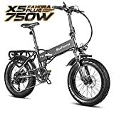 eAhora X5 Plus 750W Folding Fat Tire Electric Bikes for Adults 48V 12Ah Removable Battery 20IN Commuter Front Suspension Shimano 8...