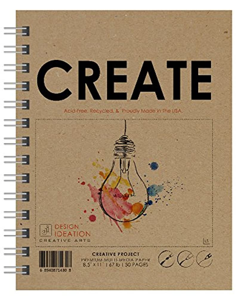 Multi-Media : Premium Paper Creative Project Book for Pencil, Ink, Marker, Charcoal and Watercolor Paints. Great for Art, Design and Education. (8.5