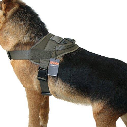 EXCELLENT ELITE SPANKER Taktische Hundeweste Ausbildung Hundegeschirr Militär Bedienung Verstellbares Hundegeschirr aus Nylon mit Griff(Olivgrün-L)