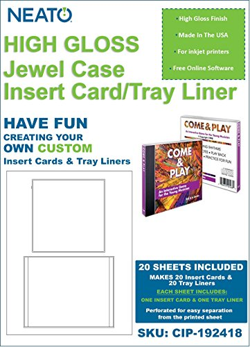 NEATO Glossy Jewel Case Insert/Tray Liner (1 Insert Card & 1 Tray Liner Per Sheet), 20 Total Sheets, CIP-192418 - with Online Design Access Code