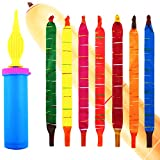 Nexxxi 100 Pcs Rocket Balloons with Free Air Pump Party Pack, Assorted Bright Color Screaming Balloon Rocket Giant Flying Whistle Balloons for Kid Party Supplies