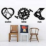 YFKSLAY Triatlón Etiqueta de la Pared Juegos Olímpicos Natación Bicicleta Correr Deportes Vinilo Etiqueta de la Pared Juventud Decoración del hogar Dormitorio Etiqueta de la Pared 119x42cm