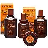 L'Erbolario - Accordo di EBANO - Confezione regalo in scatola originale (shampodoccia, profumo, dopobarba, sapone) + in OMAGGIO la Tisana del Benessere Tisaniamo