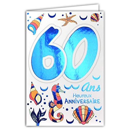 Afie 69-2037 Carte Anniversaire 60 ans Homme Femme - Mer Ancre Boussole Gouvernail