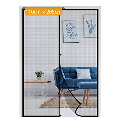 Mückenschutz Tür, Yotache 110x205cm Schwarz Fliegengitter mit Magnetischem Türen Balkontür Schlafzimmer Bildschirmtür ohne Bohren Schwarz