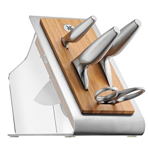 WMF Chef's Edition Messerblock mit Messerset 5teilig, Spezialklingenstahl, 3 Messer geschmiedet, Schere, Block-Bambus, Kunststoff, Edelstahl, Performance Cut