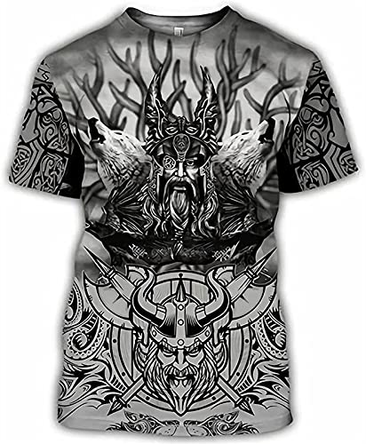 Impresión 3D Moda para Hombre -Norse Mythology Odin- Camiseta, Verano Seco rápido Vikingo Amuleto Manga Corta, Boyfriend Personalidad Streetwear (Color : Gray, Size : XXL)