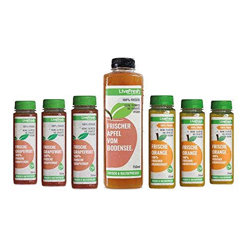 LiveFresh Probierpaket - Kaltgepresste Frühstückssäfte   Kaltgepresst aus frischen Orangen, Grapefruits & Bodensee Apfel   Keine Zusätze, kein zusätzlicher Zucker   Gekühlt und isoliert geliefert
