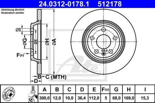 Ate 24.0312-0178.1 Rotore Disco Freno, Set di 2