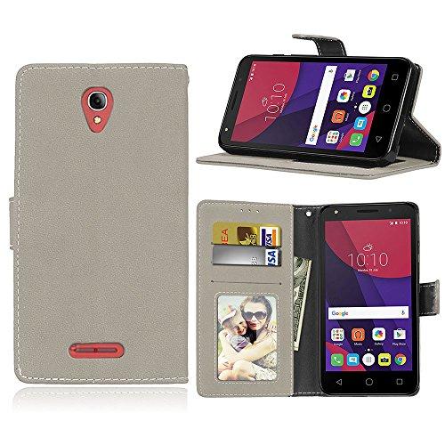 SATURCASE Alcatel One Touch Pop 4 Plus Hülle, Retro Mattiert PU Leder Magnetverschluss Brieftasche Standfunktion Schutzhülle Handy Tasche Hülle für Alcatel One Touch Pop 4 Plus/Fierce 4 (Grau)