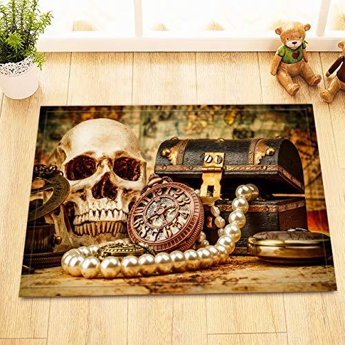/N Antiguo Reloj joyería gótica cráneo Cortina de Ducha Impermeable Tela baño Conjunto