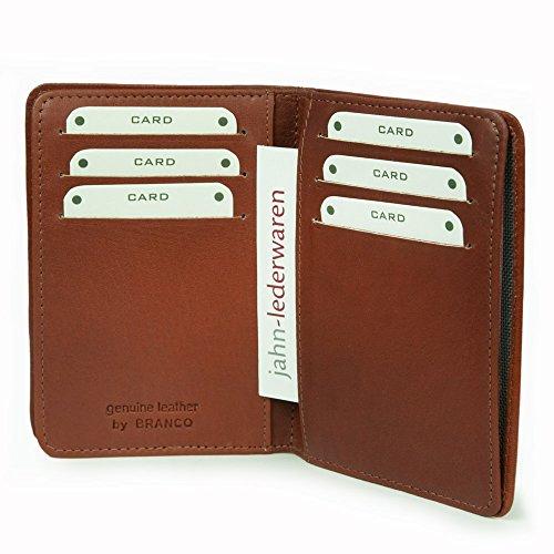 A7 Hülle / Etui / Mappe z.B. für Ausweis, Fahrzeugschein, Führerschein und Kredit-Karten, Echt-Leder, Braun, Branco 302 - 5