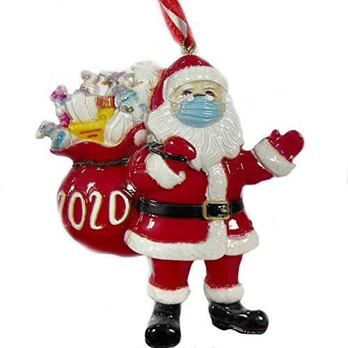 FunMular 2020 Christmas Ornament Santa Wearing Face_Mask in Quarantine! Keepsake Unique Luxury Ornament for Tree(Santa A)