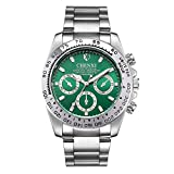 CXJC Relojes de los hombres de oro, acero inoxidable relojes mecánicos de negocios, hombres de Relojes de regalo, seis colores están disponibles, Nivel 3 ATM impermeable (Color : Silver+green)