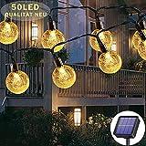 Guirnalda de luces solares para exteriores, 50 LED, 7 m, impermeable, 8 modos, impermeable, iluminación de jardín, terraza, fiesta, Navidad, decoración (blanco cálido)