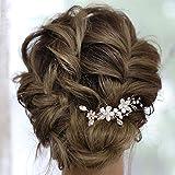 IYOU Horquillas para el cabello con flores de novia diamantes de imitación plateados pinzas para el cabello para novia perlas accesorios para el cabello de boda para mujeres y niñas (paquete de 2)