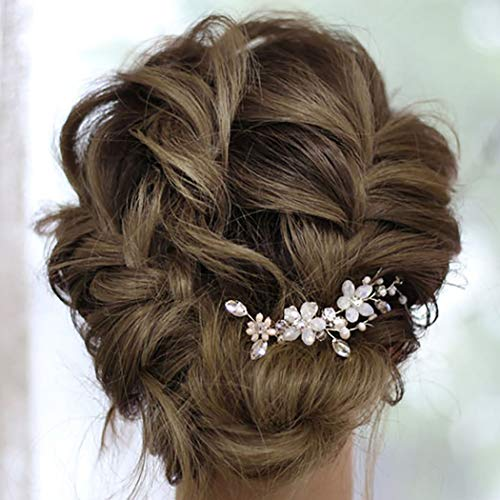Preisvergleich Produktbild IYOU Braut Blume Haarnadeln Silber Strass Braut Haarspangen Perle Hochzeit Haarschmuck für Frauen und Mädchen (2 Stück) (Silber)