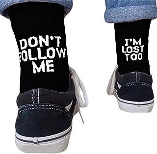 KERDEJAR, KERDEJAR Calcetines, Unisex Divertido Palabra Letra Impresa algodón Calcetines Largos Mensaje Hip Hop monopatín Negro