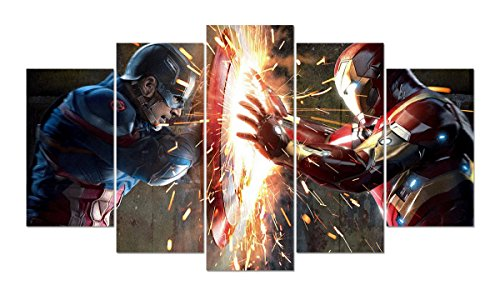 LMPTART(TM 50x28inch Print Captain America Civil War Film Movie Poster Modern Home Decor Wall Art Picture Kids Children Room Wall Decor Print Painting On Canvas Art Framed Painting Ready to Hang Wall