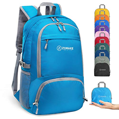 ZOMAKE 30L Lightweight Packable Backpack Water Resistant Hiking Daypack,Small Travel Backpack Foldable Camping Outdoor Bag (Light Blue)