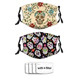 Prientomer 2pc Day Of The Dead Sugar Skull Face Mask, Decorative|Adjustable, With 4 Filters For Men And Women Balaclava Bandana Cloth
