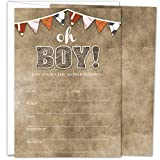 Gooji Sports Oh Boy Baby Shower Invites – Large 25pcs Double Sided It's a Boy Invitations With 25 Envelopes – Invite Cards For Baby Shower