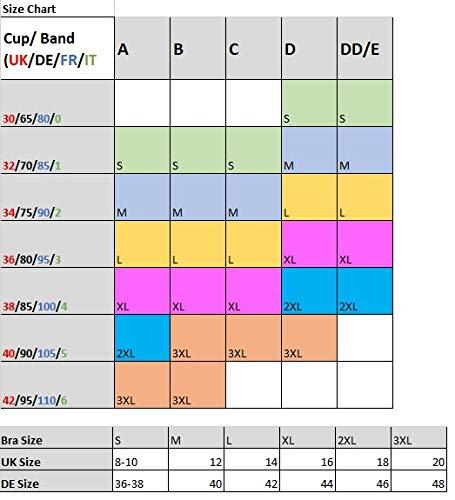 Blu Apparel 3 Pack Comfort Marl Seamless Bras (Black/Purple/Pink, L) UK 14