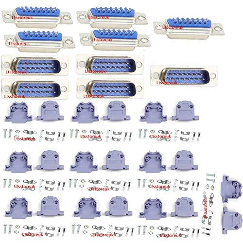 Ltsstoreuk RS232 Parallel Serial Port DB15 15 Pin D Sub männlich / weiblich Lötverbinder + DB15 Kunststoffgehäuse Abdeckung, 10 Stück