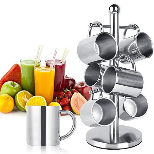 Koffiemok Water Cup, Staande Waterfles en Wijnrek Organizer Koffiemok Water Cups Set met Rackhouder voor Eetkamer Bar, Voorraadkast, Koelkast