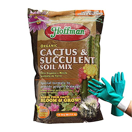 10 Quart Hoffman 10404 Organic Cactus and Succulent Soil Mixed Potting Soil for Outdoor and Indoor Plants, [Bundled with Pearson's Garden Gloves] (10 Quarts)