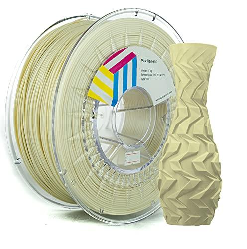 Eolas Prints | Filamento PLA 1.75 | Impresora 3D | Fabricado en España | Apto para uso alimentario y crear juguetes y envases | 1,75mm | 1Kg | Beige