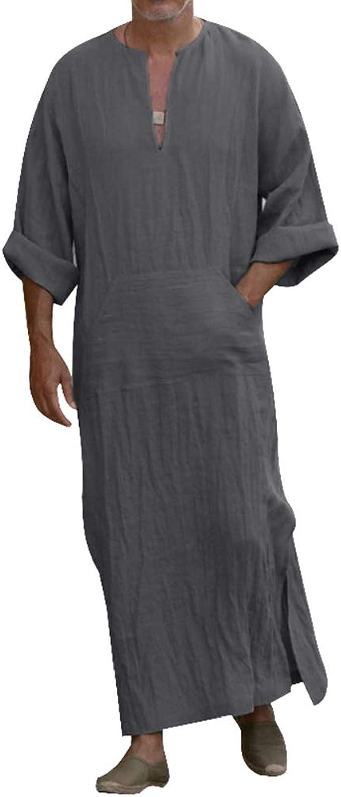 Vertvie Herren Roben V Ausschnitt Arab Nachtwäsche Dünn Jahrgang Kleid  Kaftan Robes Lange Ärmel Bademäntel Morgenmäntel Mit Taschen Herrenhemd