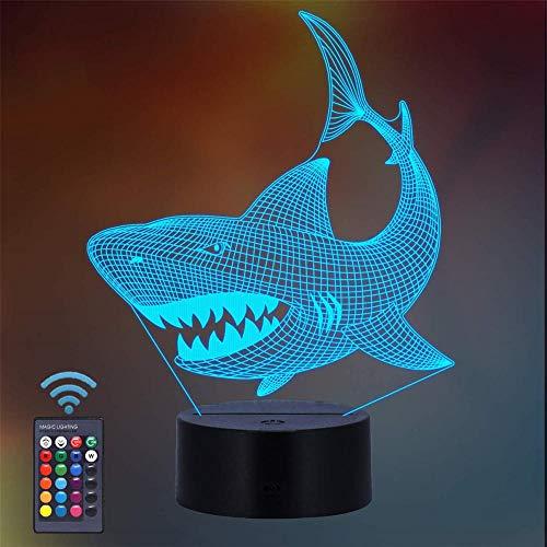3D-Illusionslampe, 16 Farben, LED-Nachtlicht mit Touch-Steuerung, Geschenk für Kinder, Hai