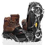 アイゼン 20本プレート爪 収納袋付 チェーン式 簡単装着 軽量アイスグリッパー トレッキング クイックフィット スノースパイク 滑り止め 雪山・登山・トレッキングなどに最適 転倒 転落防止