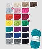 Gründl King Cotton Set, 10 x 50 G, + kostenlose Anleitung für eine Häkelmütze Farbe frei wählbar(Farben bitte per Nachricht mitteilen)