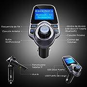 Manos-Libres-Bluetooth-Transmisor-FM-Coche-de-VicTsing-Reproductor-MP3-Coche-Adaptador-de-Radio-144-Pulgadas-Cargador-de-Coche-de-USB-Gris