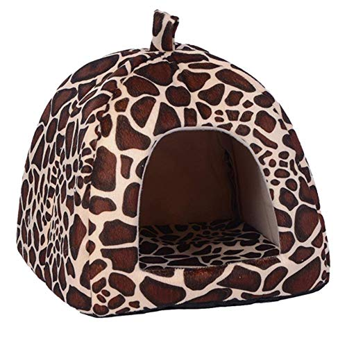 XHPWW Pet Nest Lovely Strawberry Soft Cat Cat Bed Bed, Saco de Dormir Plegable Antideslizante Puppy House Warm Plush Cave Sleeping Bag para Perros pequeños y Gatos (Leopard)-M